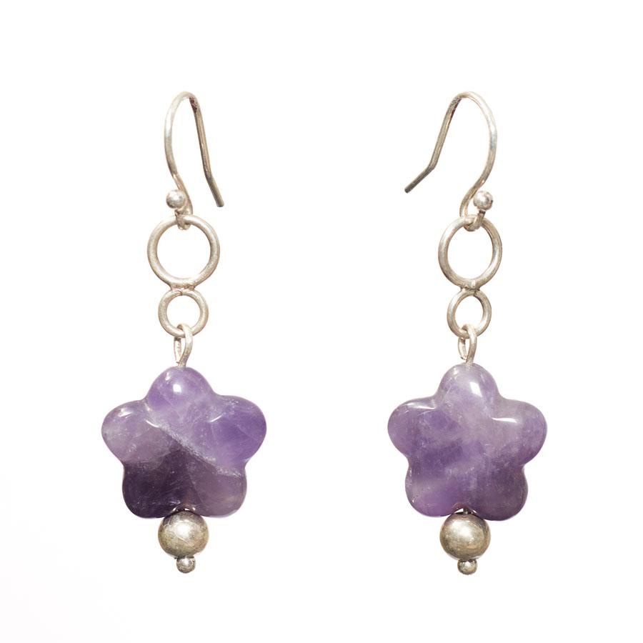 puffed amethyst star earrings