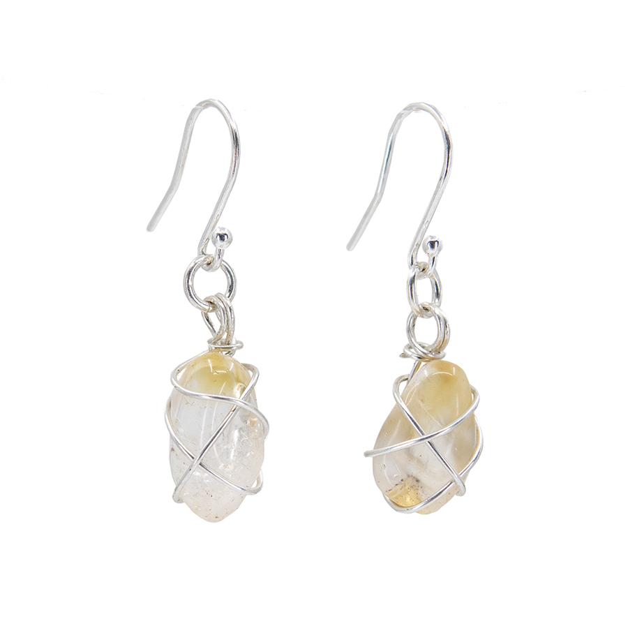 WEB citrine drop earrings