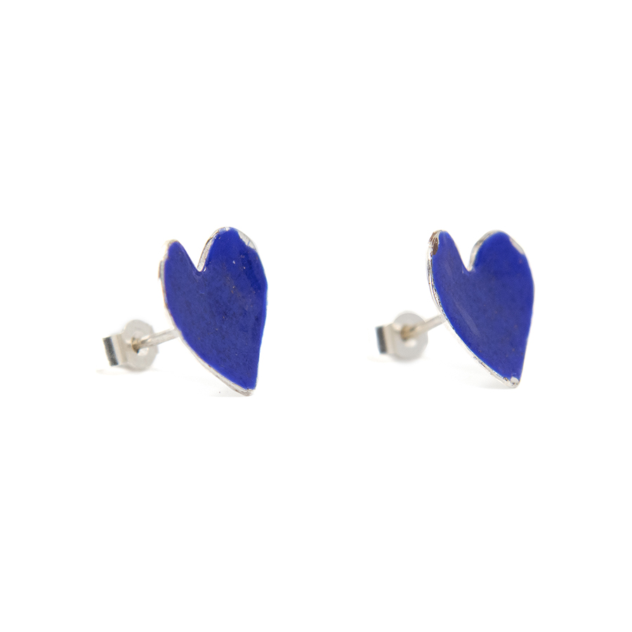 WEB blue heart studs b