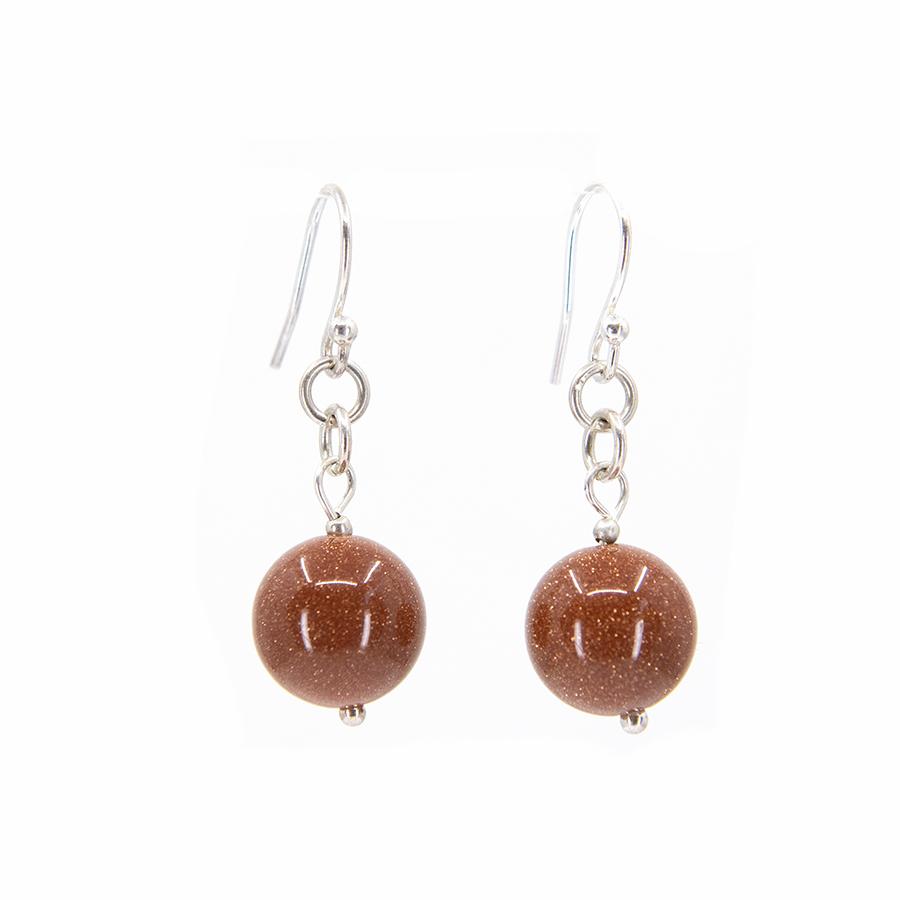 WEB goldstone ball earrings