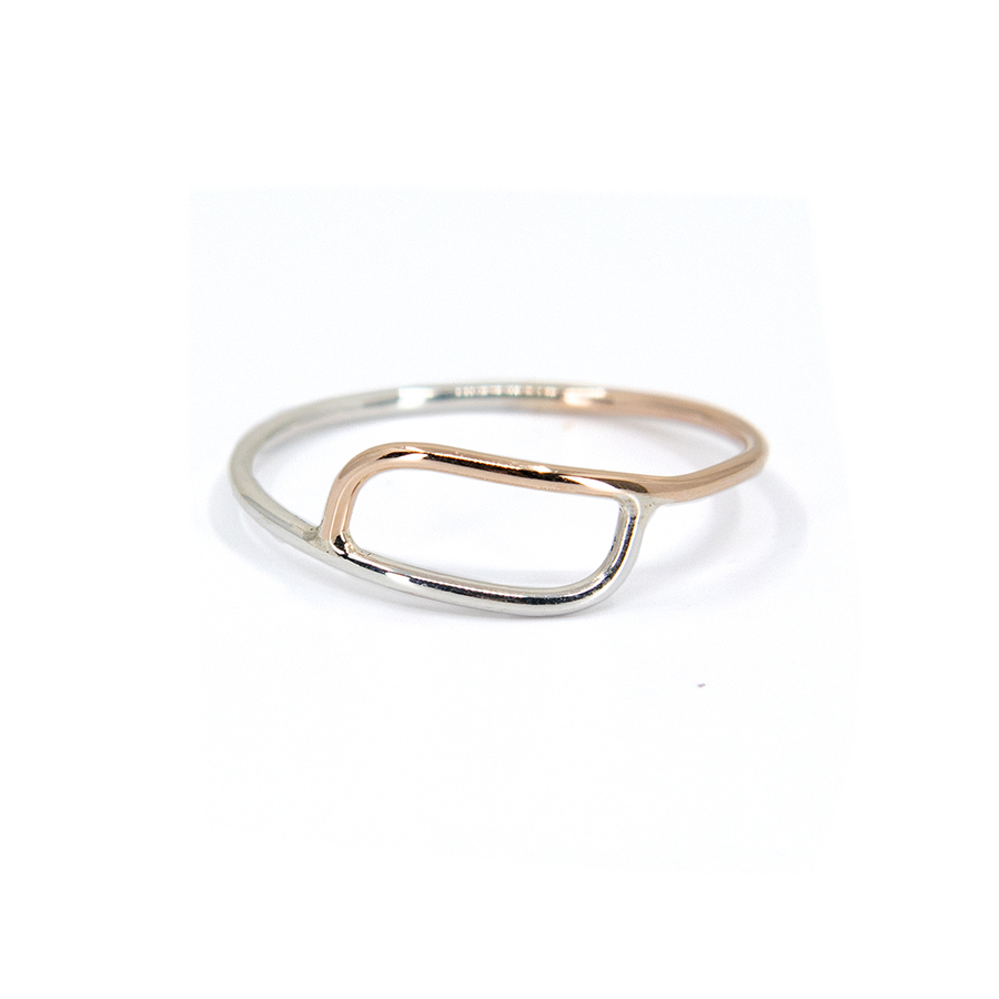 Overlapping Rose Gold and Silver Ring- Size P