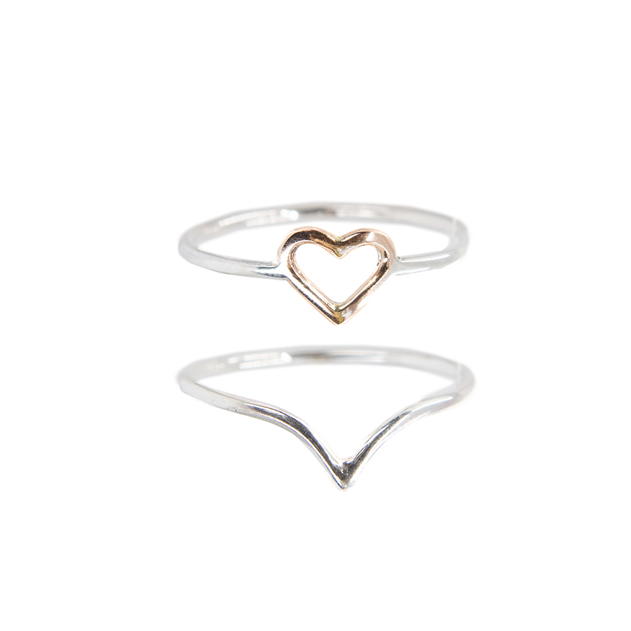 WEB rose heart ring set c