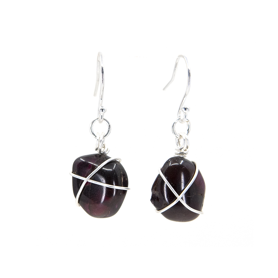 Garnet Wire Wrap Drop Earrings