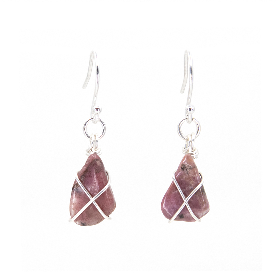Rhodonite Wire Wrap Drop Earrings