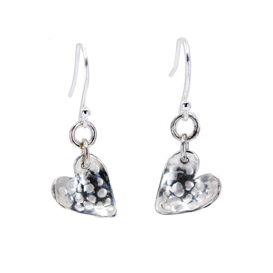 Hammered Hearts Drop Earrings