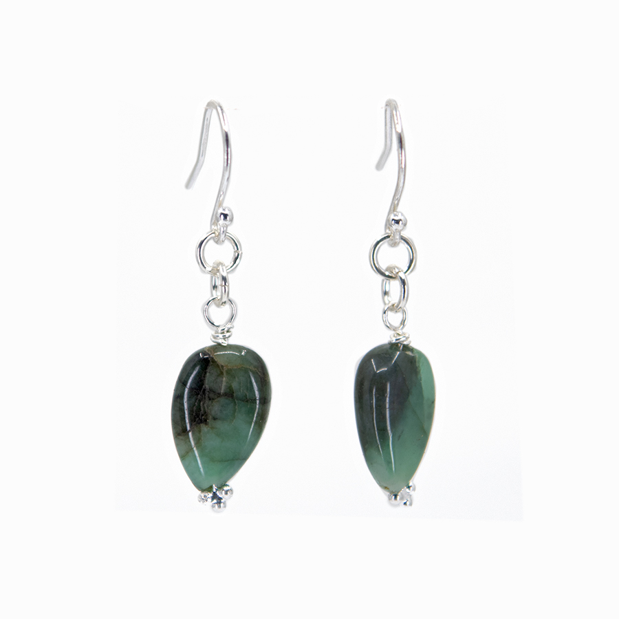 WEB emerald pear drop studs