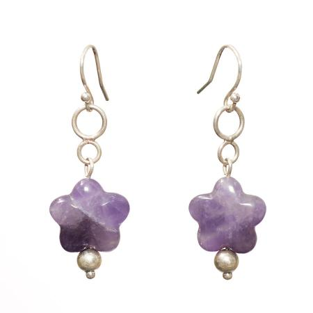 puffed amethyst star earrings